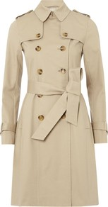 Saskia Trench Coat, Stone - pattern: plain; shoulder detail: obvious epaulette; style: trench coat; length: on the knee; predominant colour: nude; occasions: casual, work; fit: tailored/fitted; fibres: cotton - stretch; collar: shirt collar/peter pan/zip with opening; waist detail: belted waist/tie at waist/drawstring; sleeve length: long sleeve; sleeve style: standard; texture group: cotton feel fabrics; collar break: high; season: s/s 2013