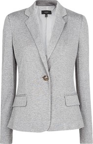 Jersey Blazer, Medium Grey - pattern: plain; style: single breasted blazer; collar: standard lapel/rever collar; predominant colour: light grey; occasions: casual, evening, work; length: standard; fit: tailored/fitted; fibres: viscose/rayon - stretch; sleeve length: long sleeve; sleeve style: standard; collar break: medium; pattern type: fabric; texture group: other - light to midweight; season: s/s 2013