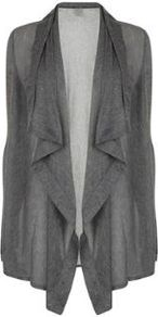 Ribbed Draped Waterfall Cardigan - pattern: plain; neckline: waterfall neck; length: below the bottom; predominant colour: charcoal; occasions: casual, work; style: standard; fibres: cotton - 100%; fit: loose; sleeve length: long sleeve; sleeve style: standard; texture group: knits/crochet; pattern type: knitted - fine stitch; season: s/s 2013