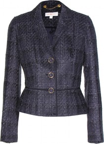 Drew Tweed Jacket - style: single breasted blazer; collar: standard lapel/rever collar; pattern: herringbone/tweed; predominant colour: navy; occasions: casual, evening, work; length: standard; fit: tailored/fitted; fibres: acrylic - mix; waist detail: fitted waist; sleeve length: long sleeve; sleeve style: standard; collar break: medium; pattern type: fabric; pattern size: light/subtle; texture group: tweed - light/midweight; trends: 1940's hitchcock heroines; season: s/s 2013