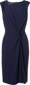Adela Twist Front Crepe Dress, Blue - style: shift; fit: tailored/fitted; pattern: plain; sleeve style: sleeveless; neckline: asymmetric; waist detail: twist front waist detail/nipped in at waist on one side/soft pleats/draping/ruching/gathering waist detail; bust detail: ruching/gathering/draping/layers/pintuck pleats at bust; predominant colour: navy; occasions: evening, work, occasion; length: just above the knee; fibres: polyester/polyamide - mix; sleeve length: sleeveless; texture group: crepes; pattern type: fabric; trends: 1940's hitchcock heroines, broody brights; season: s/s 2013