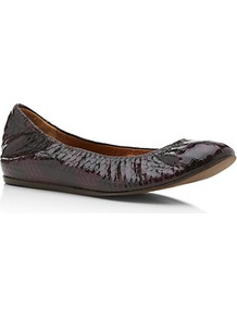 Lancelot Snake Print Flat - predominant colour: aubergine; occasions: casual, work; material: leather; heel height: flat; toe: round toe; style: ballerinas / pumps; finish: patent; pattern: animal print; season: s/s 2013