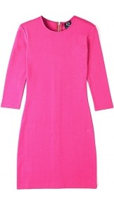 Shocking Pink Jersey Bodycon Dress - length: mid thigh; fit: tight; pattern: plain; style: bodycon; predominant colour: hot pink; occasions: evening, occasion; fibres: cotton - stretch; neckline: crew; sleeve length: 3/4 length; sleeve style: standard; texture group: jersey - clingy; pattern type: fabric; season: s/s 2013