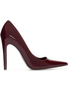 Pointy Synthetic Patent Leather Court Shoe - predominant colour: burgundy; occasions: evening, work, occasion; material: faux leather; heel: stiletto; toe: pointed toe; style: courts; finish: patent; pattern: plain; heel height: very high; trends: 1940's hitchcock heroines, broody brights; season: s/s 2013