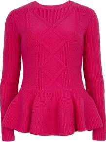 Ohavia Peplum Detail Sweater, Pink - pattern: plain; style: standard; predominant colour: hot pink; occasions: casual, work; length: standard; fibres: cotton - mix; fit: standard fit; neckline: crew; waist detail: peplum detail at waist; sleeve length: long sleeve; sleeve style: standard; texture group: knits/crochet; pattern type: knitted - fine stitch; season: s/s 2013