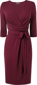 Bordeaux Fixed Wrap Dress, Purple - style: faux wrap/wrap; neckline: low v-neck; pattern: plain; waist detail: belted waist/tie at waist/drawstring; predominant colour: burgundy; occasions: casual, work; length: just above the knee; fit: body skimming; fibres: polyester/polyamide - stretch; sleeve length: 3/4 length; sleeve style: standard; pattern type: fabric; texture group: jersey - stretchy/drapey; trends: broody brights; season: s/s 2013