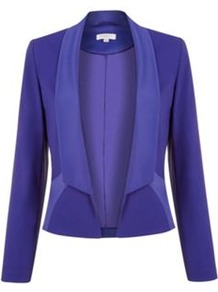 Cobalt Tuxedo Blazer - pattern: plain; style: single breasted blazer; collar: shawl/waterfall; predominant colour: royal blue; occasions: casual, evening, work, occasion; length: standard; fit: tailored/fitted; fibres: viscose/rayon - stretch; sleeve length: long sleeve; sleeve style: standard; collar break: low/open; pattern type: fabric; texture group: woven light midweight; trends: broody brights; season: s/s 2013
