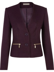 Boucle Jacket, Dark Purple - pattern: plain; style: single breasted blazer; collar: round collar/collarless; predominant colour: aubergine; occasions: casual, evening, work; length: standard; fit: tailored/fitted; fibres: polyester/polyamide - mix; sleeve length: long sleeve; sleeve style: standard; collar break: low/open; pattern type: fabric; texture group: woven light midweight; season: s/s 2013