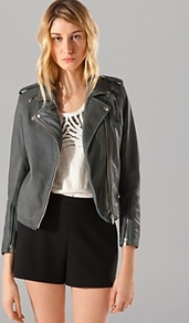 Jacket Article Leather Moto - pattern: plain; style: biker; shoulder detail: obvious epaulette; collar: asymmetric biker; predominant colour: charcoal; occasions: casual, evening; length: standard; fit: tailored/fitted; fibres: leather - 100%; sleeve length: 3/4 length; sleeve style: standard; texture group: leather; collar break: high/illusion of break when open; pattern type: fabric; trends: gorgeous grunge; season: s/s 2013