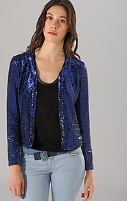 Blazer Sequin - pattern: plain; style: cropped; collar: round collar/collarless; predominant colour: royal blue; occasions: evening, occasion; length: standard; fit: straight cut (boxy); fibres: polyester/polyamide - stretch; sleeve length: long sleeve; sleeve style: standard; collar break: low/open; pattern type: fabric; texture group: other - light to midweight; embellishment: sequins; trends: excess embellishment, broody brights; season: s/s 2013