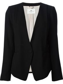 Minimalist Blazer - pattern: plain; style: single breasted blazer; collar: standard lapel/rever collar; predominant colour: black; occasions: casual, evening, work; length: standard; fit: tailored/fitted; fibres: polyester/polyamide - 100%; sleeve length: long sleeve; sleeve style: standard; collar break: medium; pattern type: fabric; texture group: woven light midweight; trends: masculine feminine; season: s/s 2013
