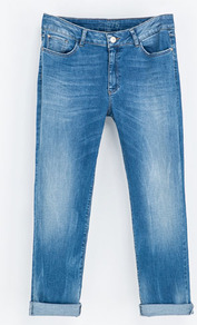 Loose Fit Jeans - style: boyfriend; pattern: plain; pocket detail: traditional 5 pocket; waist: mid/regular rise; predominant colour: denim; occasions: casual; length: ankle length; fibres: cotton - stretch; jeans detail: shading down centre of thigh; jeans & bottoms detail: turn ups; texture group: denim; pattern type: fabric; season: s/s 2013