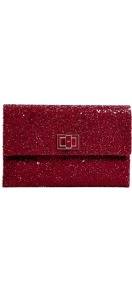 Red Glitter Valorie Clutch - predominant colour: true red; occasions: evening, occasion; type of pattern: standard; style: clutch; length: hand carry; size: standard; material: leather; embellishment: glitter; pattern: plain; finish: metallic; trends: excess embellishment, 1940's hitchcock heroines, gothic romance, broody brights; season: s/s 2013