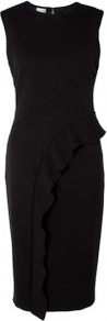 Asymmetric Frill Pencil Dress Philosophy Di Alberta Ferre - style: shift; length: below the knee; fit: tailored/fitted; pattern: plain; sleeve style: sleeveless; predominant colour: black; occasions: evening, occasion; fibres: polyester/polyamide - mix; neckline: crew; sleeve length: sleeveless; texture group: crepes; hip detail: ruffles/tiers/tie detail at hip; pattern type: fabric; season: s/s 2013