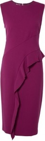 Asymmetric Frill Pencil Dress Philosophy Di Alberta Ferre - style: shift; length: below the knee; fit: tailored/fitted; pattern: plain; sleeve style: sleeveless; predominant colour: magenta; occasions: evening, occasion; fibres: polyester/polyamide - mix; neckline: crew; back detail: keyhole/peephole detail at back; sleeve length: sleeveless; texture group: crepes; hip detail: ruffles/tiers/tie detail at hip; pattern type: fabric; season: s/s 2013