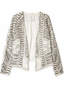 Casual Jacket Day Stringent Beaded Jacket Day Birger Et - pattern: plain; style: single breasted blazer; collar: shawl/waterfall; fit: loose; predominant colour: ivory/cream; secondary colour: gold; occasions: casual, evening, occasion; length: standard; fibres: polyester/polyamide - 100%; sleeve length: long sleeve; sleeve style: standard; texture group: crepes; collar break: low/open; pattern type: fabric; embellishment: beading; trends: excess embellishment; season: s/s 2013