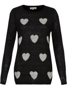 Black Heart Print Jumper - neckline: round neck; length: below the bottom; style: standard; secondary colour: mid grey; predominant colour: black; occasions: casual, evening, work; fibres: acrylic - 100%; fit: standard fit; bust detail: contrast pattern/fabric/detail at bust; sleeve length: long sleeve; sleeve style: standard; texture group: knits/crochet; pattern type: knitted - fine stitch; pattern size: standard; pattern: patterned/print; trends: playful prints; season: s/s 2013