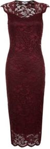 Burgundy Sweetheart Lace Midi Dress - length: below the knee; sleeve style: capped; fit: tight; style: bodycon; neckline: sweetheart; predominant colour: burgundy; occasions: evening, occasion; fibres: polyester/polyamide - stretch; sleeve length: sleeveless; texture group: lace; pattern type: fabric; pattern: patterned/print; embellishment: lace; trends: 1940's hitchcock heroines, gothic romance, broody brights; season: s/s 2013