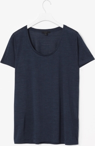 Silk Melange T Shirt - pattern: plain; style: t-shirt; predominant colour: navy; occasions: casual, work; length: standard; neckline: scoop; fibres: silk - 100%; fit: straight cut; sleeve length: short sleeve; sleeve style: standard; pattern type: fabric; texture group: jersey - stretchy/drapey; trends: broody brights; season: s/s 2013