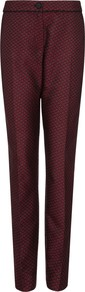 Jacquard Tailored Trousers, Burgandy - length: standard; pocket detail: pockets at the sides; waist: mid/regular rise; predominant colour: burgundy; occasions: casual, evening, work, occasion; fibres: polyester/polyamide - 100%; fit: tapered; pattern: patterned/print; texture group: brocade/jacquard; style: standard; trends: gothic romance, broody brights; season: s/s 2013