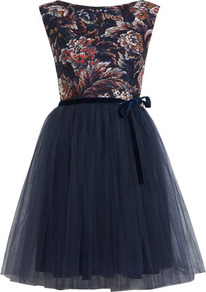 Floral Print Mesh Tutu Dress - neckline: slash/boat neckline; sleeve style: sleeveless; style: prom dress; back detail: low cut/open back; waist detail: belted waist/tie at waist/drawstring; predominant colour: teal; secondary colour: coral; occasions: evening, occasion; length: just above the knee; fit: fitted at waist & bust; fibres: polyester/polyamide - 100%; hip detail: soft pleats at hip/draping at hip/flared at hip; bust detail: contrast pattern/fabric/detail at bust; sleeve length: sleeveless; texture group: sheer fabrics/chiffon/organza etc.; pattern type: fabric; pattern size: standard; pattern: patterned/print; trends: 1940's hitchcock heroines, broody brights; season: s/s 2013