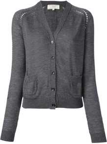 Wool Cardigan - neckline: low v-neck; sleeve style: raglan; pattern: plain; predominant colour: charcoal; occasions: casual, work; length: standard; style: standard; fibres: wool - 100%; fit: standard fit; sleeve length: long sleeve; texture group: knits/crochet; season: s/s 2013