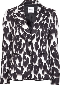 Animal Print Blazer - style: single breasted blazer; collar: standard lapel/rever collar; occasions: evening, work, occasion; length: standard; fit: tailored/fitted; fibres: polyester/polyamide - 100%; sleeve length: long sleeve; sleeve style: standard; predominant colour: monochrome; collar break: medium; pattern type: fabric; pattern size: standard; pattern: animal print; texture group: other - light to midweight; season: s/s 2013