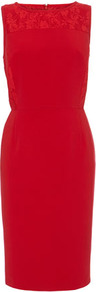 Red Lace And Crepe Dress - style: shift; fit: tailored/fitted; pattern: plain; sleeve style: sleeveless; predominant colour: true red; length: just above the knee; fibres: viscose/rayon - stretch; neckline: crew; sleeve length: sleeveless; texture group: crepes; pattern type: fabric; embellishment: lace; season: s/s 2013