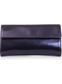 Nola Clutch - predominant colour: navy; occasions: evening, occasion; style: clutch; length: hand carry; size: standard; material: leather; pattern: plain; finish: metallic; trends: broody brights; season: s/s 2013