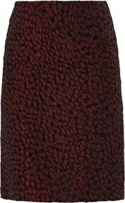 Wine Jacquard Pencil Skirt - style: straight; fit: tailored/fitted; waist: mid/regular rise; predominant colour: burgundy; secondary colour: black; occasions: evening, work, occasion; length: just above the knee; pattern: patterned/print; texture group: brocade/jacquard; fibres: viscose/rayon - mix; trends: gorgeous grunge, gothic romance, broody brights; season: s/s 2013; pattern size: standard (bottom)