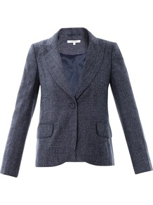 Tweed Single Breasted Wool Blazer - style: single breasted blazer; collar: standard lapel/rever collar; pattern: herringbone/tweed; predominant colour: charcoal; occasions: casual, work; length: standard; fit: tailored/fitted; fibres: wool - 100%; sleeve length: long sleeve; sleeve style: standard; collar break: low/open; pattern type: fabric; pattern size: light/subtle; texture group: woven light midweight; trends: masculine feminine; season: s/s 2013