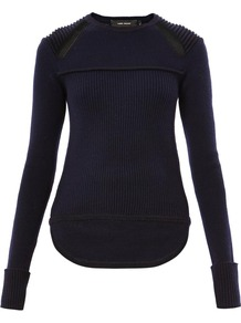 Blaze Ribbed Knit Sweater - pattern: plain; style: standard; shoulder detail: contrast pattern/fabric at shoulder; predominant colour: navy; occasions: casual, evening; length: standard; fibres: wool - mix; fit: slim fit; neckline: crew; sleeve length: long sleeve; sleeve style: standard; texture group: knits/crochet; pattern type: knitted - other; trends: broody brights; season: s/s 2013