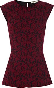 Butterfly Jacquard Peplum Top, Red - neckline: round neck; sleeve style: capped; waist detail: peplum waist detail; predominant colour: burgundy; secondary colour: black; occasions: casual, evening, work; length: standard; style: top; fit: tailored/fitted; back detail: keyhole/peephole detail at back; sleeve length: short sleeve; pattern type: fabric; pattern size: light/subtle; pattern: patterned/print; texture group: brocade/jacquard; season: s/s 2013