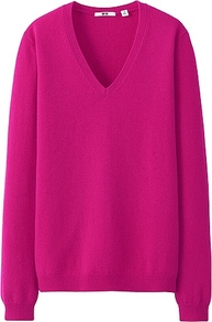Women Cashmere V Neck Sweater 12 Pink - neckline: low v-neck; pattern: plain; style: standard; predominant colour: hot pink; occasions: casual; length: standard; fit: standard fit; fibres: cashmere - 100%; sleeve length: long sleeve; sleeve style: standard; texture group: knits/crochet; pattern type: knitted - fine stitch; season: s/s 2013