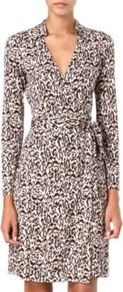 Kira Leopard Print Wrap Dress - style: faux wrap/wrap; neckline: low v-neck; waist detail: belted waist/tie at waist/drawstring; occasions: casual, evening, work, occasion; length: just above the knee; fit: fitted at waist & bust; fibres: silk - 100%; predominant colour: multicoloured; sleeve length: long sleeve; sleeve style: standard; pattern type: fabric; pattern size: standard; pattern: animal print; texture group: jersey - stretchy/drapey; trends: playful prints; season: s/s 2013
