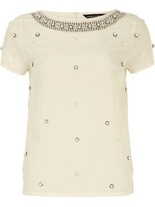 Ivory Pearl Embellished Top - neckline: round neck; pattern: plain; predominant colour: ivory/cream; occasions: casual, evening, work, occasion; length: standard; style: top; fibres: polyester/polyamide - 100%; fit: straight cut; back detail: keyhole/peephole detail at back; sleeve length: short sleeve; sleeve style: standard; texture group: sheer fabrics/chiffon/organza etc.; pattern type: fabric; embellishment: pearls; season: s/s 2013