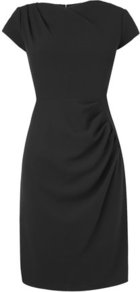 Sabrina Tailored Pleat Dress Black - style: shift; sleeve style: capped; fit: tailored/fitted; pattern: plain; waist detail: twist front waist detail/nipped in at waist on one side/soft pleats/draping/ruching/gathering waist detail; predominant colour: black; occasions: casual, evening, work, occasion; length: on the knee; fibres: polyester/polyamide - mix; neckline: crew; sleeve length: short sleeve; pattern type: fabric; texture group: other - light to midweight; trends: 1940's hitchcock heroines; season: a/w 2013