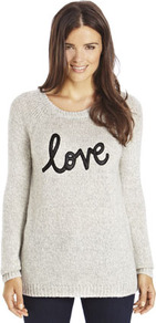 Limited Edition Love Slogan Jumper - neckline: round neck; sleeve style: raglan; pattern: plain; length: below the bottom; style: standard; predominant colour: light grey; secondary colour: black; occasions: casual; fibres: acrylic - 100%; fit: standard fit; sleeve length: long sleeve; texture group: knits/crochet; pattern type: knitted - other; embellishment: applique; season: a/w 2013