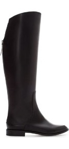 Trf Flat Boot - predominant colour: black; occasions: casual, work; material: faux leather; heel height: flat; embellishment: zips; heel: standard; toe: round toe; boot length: knee; style: riding; finish: plain; pattern: plain; season: a/w 2013