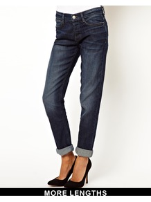Brady Low Rise Slim Boyfriend Jeans In Dark Washed Indigo - style: boyfriend; length: standard; pattern: plain; waist: low rise; pocket detail: traditional 5 pocket; predominant colour: navy; occasions: casual, evening; fibres: cotton - stretch; jeans detail: whiskering, shading down centre of thigh, dark wash, washed/faded; texture group: denim; pattern type: fabric; season: a/w 2013
