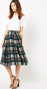 Midi Skirt In Brushed Check - length: below the knee; pattern: checked/gingham; fit: loose/voluminous; waist: high rise; predominant colour: light grey; secondary colour: black; occasions: casual, evening, work, creative work; style: a-line; fibres: wool - mix; hip detail: soft pleats at hip/draping at hip/flared at hip; waist detail: narrow waistband; pattern type: fabric; texture group: woven light midweight; trends: gorgeous grunge, 1940's hitchcock heroines; season: a/w 2013; pattern size: standard (bottom)