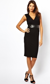 Sexy Pencil Dress With Plunge Neck And Leather Look Panel - style: shift; neckline: low v-neck; fit: tailored/fitted; pattern: plain; sleeve style: sleeveless; waist detail: wide waistband/cummerbund; predominant colour: black; occasions: evening, work, occasion, creative work; length: on the knee; fibres: polyester/polyamide - stretch; sleeve length: sleeveless; pattern type: fabric; texture group: jersey - stretchy/drapey; trends: 1940's hitchcock heroines; season: a/w 2013