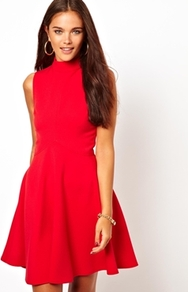 Skater Dress - pattern: plain; sleeve style: sleeveless; neckline: high neck; predominant colour: true red; occasions: casual, evening, occasion; length: just above the knee; fit: fitted at waist & bust; style: fit & flare; fibres: polyester/polyamide - stretch; hip detail: soft pleats at hip/draping at hip/flared at hip; sleeve length: sleeveless; pattern type: fabric; texture group: jersey - stretchy/drapey; season: a/w 2013