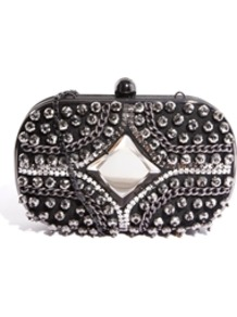 Stud And Chain Box Clutch Bag - predominant colour: silver; secondary colour: black; occasions: evening, occasion; type of pattern: small; style: clutch; length: hand carry; size: small; material: fabric; embellishment: studs; pattern: plain; finish: metallic; trends: excess embellishment; season: a/w 2013