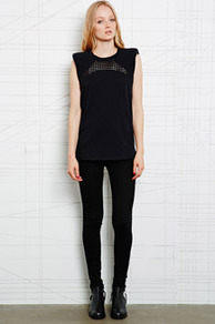 Anacel Cut Out Padded Tee - pattern: plain; sleeve style: sleeveless; shoulder detail: shoulder pads; predominant colour: black; occasions: casual, evening; length: standard; style: top; fibres: cotton - 100%; fit: straight cut; neckline: crew; sleeve length: sleeveless; texture group: jersey - stretchy/drapey; trends: gorgeous grunge; season: a/w 2013