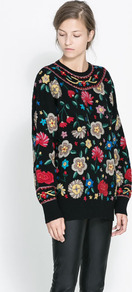 Sweater With Embroidered Flowers - sleeve style: dolman/batwing; length: below the bottom; style: standard; secondary colour: mid grey; predominant colour: black; occasions: casual, creative work; fibres: wool - mix; fit: loose; neckline: crew; sleeve length: long sleeve; texture group: knits/crochet; pattern type: knitted - other; pattern size: standard; pattern: florals; embellishment: embroidered; trends: playful prints; season: a/w 2013