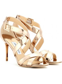 Louise Metallic Leather Sandals - predominant colour: gold; occasions: evening, occasion; material: leather; heel height: high; ankle detail: ankle strap; heel: stiletto; toe: open toe/peeptoe; style: strappy; finish: metallic; pattern: plain; trends: shimmery metallics; season: s/s 2014