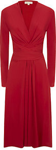 Faux Wrap Dress - style: faux wrap/wrap; length: below the knee; neckline: low v-neck; pattern: plain; waist detail: flattering waist detail; predominant colour: true red; occasions: evening, creative work; fit: fitted at waist & bust; fibres: polyester/polyamide - stretch; sleeve length: long sleeve; sleeve style: standard; pattern type: fabric; texture group: jersey - stretchy/drapey; season: s/s 2014; trends: zesty shades