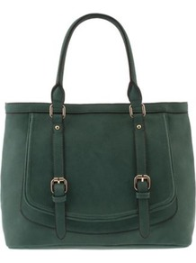 Green Twin Buckles Tote - predominant colour: dark green; occasions: casual, work, creative work; style: tote; length: handle; size: standard; material: faux leather; pattern: plain; finish: plain; season: s/s 2014