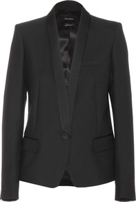Salina Wool Jacket - pattern: plain; style: single breasted tuxedo; collar: shawl/waterfall; predominant colour: black; occasions: evening, work, occasion; length: standard; fit: tailored/fitted; fibres: wool - 100%; sleeve length: long sleeve; sleeve style: standard; collar break: low/open; pattern type: fabric; texture group: woven light midweight; season: s/s 2014